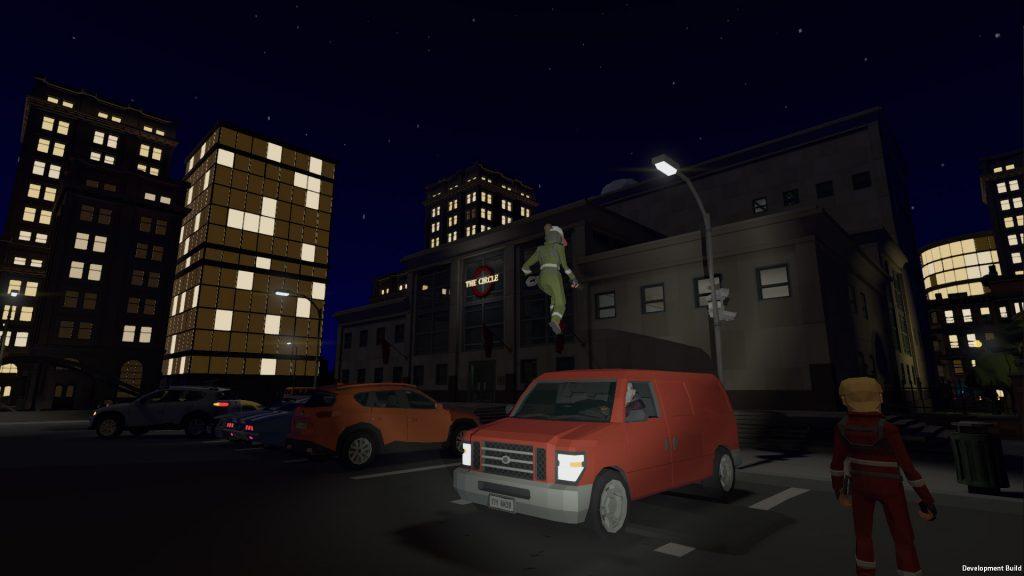 [Image: Acrobate sautant depuis le van]